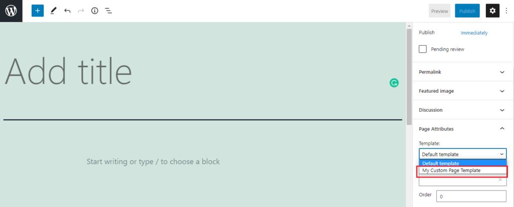 Custom Page Template in WordPress