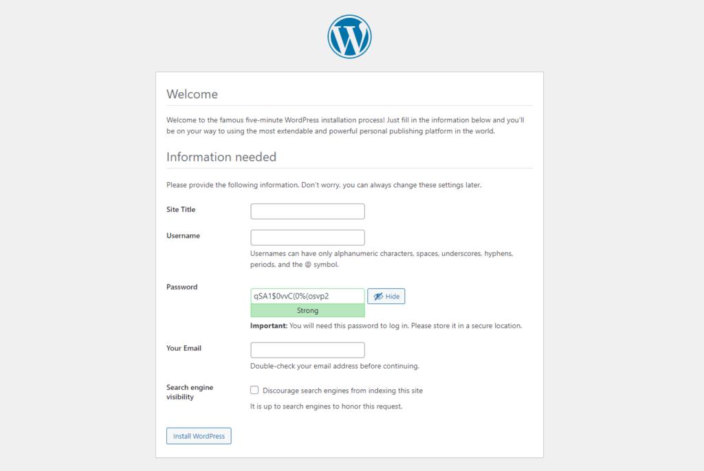 Install WordPress 5