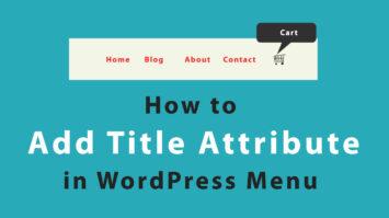Add Title Attribute in WordPress Menu