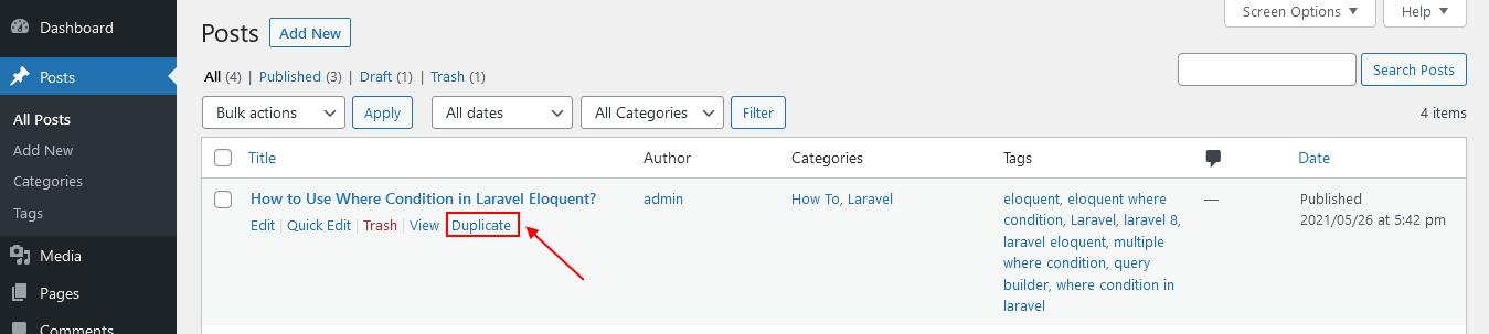 WordPress Post Duplicate