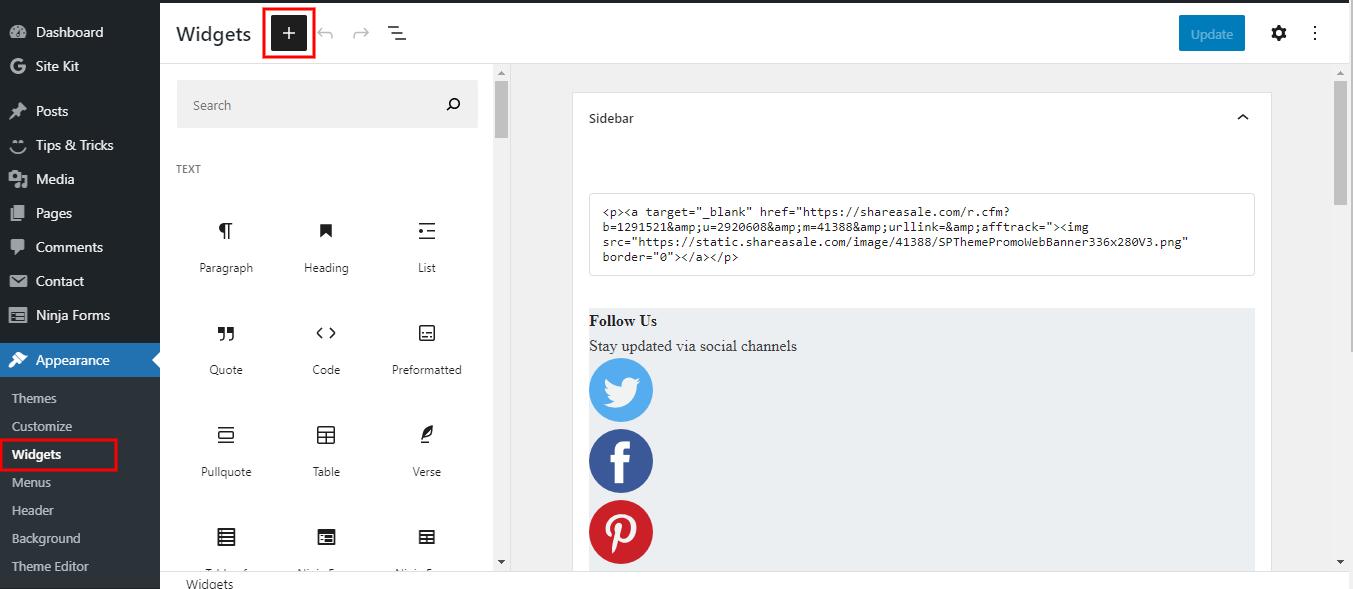 Widget Block Editor Screen