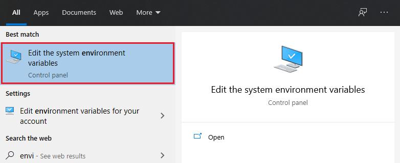 Windows Enviorment Variables Option